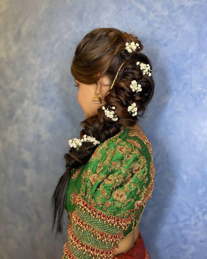Messy fishtail bridal hairdo